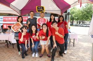 捐血做公益 ,興大企管系系友會號召捐血150袋,興大企管系喬友慶主任(後排左2)、蕭櫓老師(後排中)加入響應